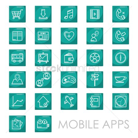 消息 : Set of mobile icons
