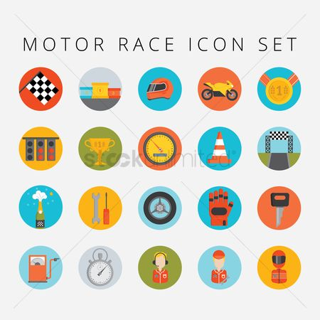 体育 : Set of motor race icons