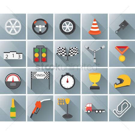 体育 : Set of motor racing icons