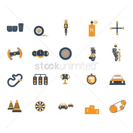 运动 : Set of motor racing icons