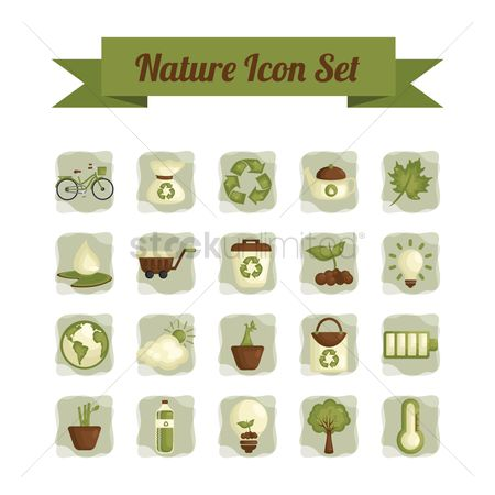 垃圾 : Set of nature icons