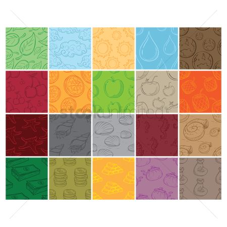 搜藏 : Set of seamless pattern backgrounds