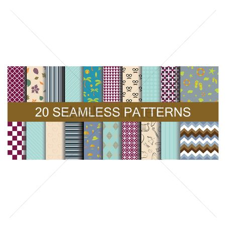 心脏 : Set of seamless patterns backgrounds