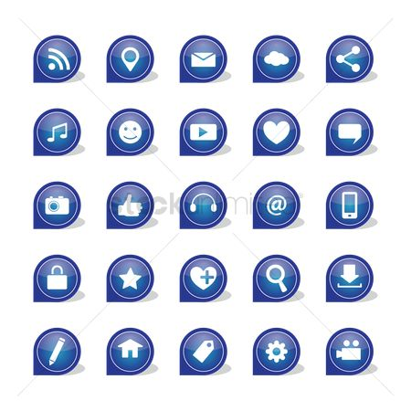 心脏 : Set of social media icons
