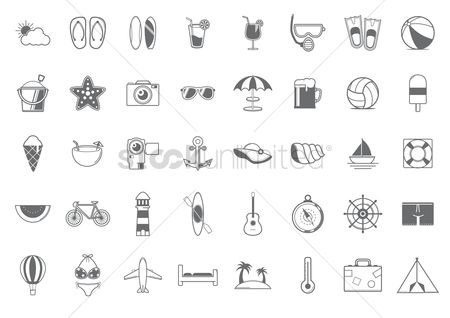 体育 : Set of summer icons
