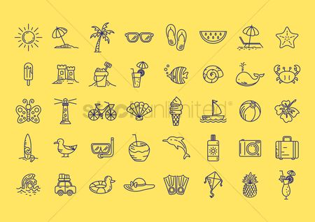 波 : Set of summer icons