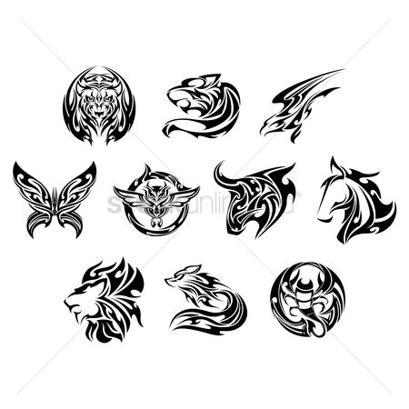 动物 : Set of tattoo icons