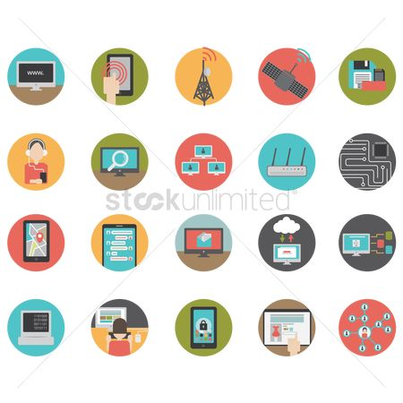 图标 : Set of technology icons