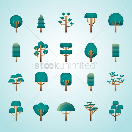 向量 : Set of tree icons