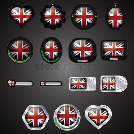 心脏 : Set of uk buttons