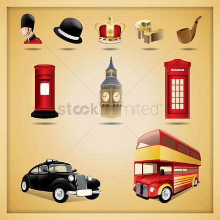 庆典 : Set of united kingdom icons