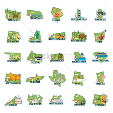 房屋地标 : Set of usa maps icons