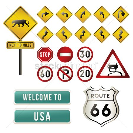 标志 : Set of usa road signs