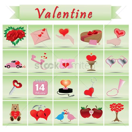 鸟类 : Set of valentines day icons