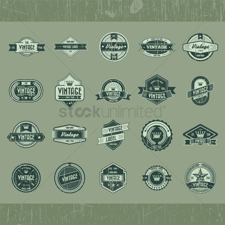 向量 : Set of vintage labels
