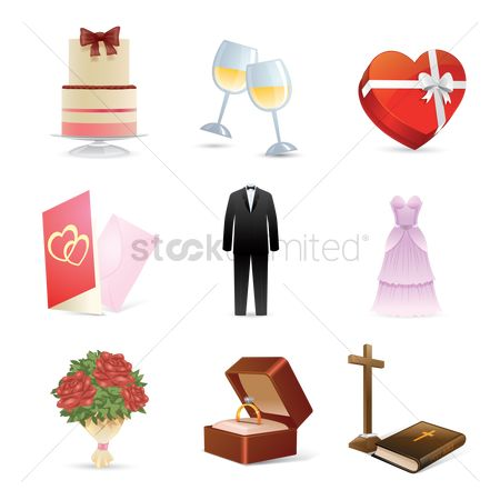庆典 : Set of wedding icons