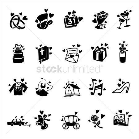 心脏 : Set of wedding icons