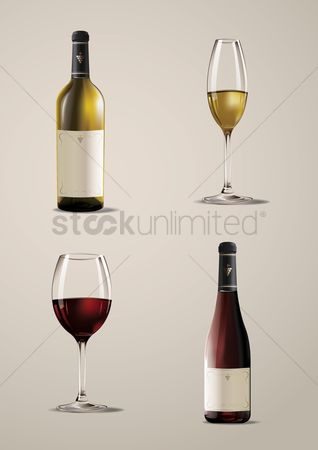 庆典 : Set of wine bottles and glasses