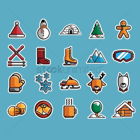 体育 : Set of winter icons