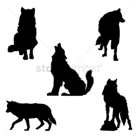 动物野生动物 : Set of wolf silhouettes
