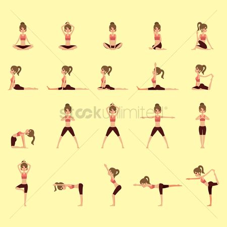 图标 : Set of yoga icons