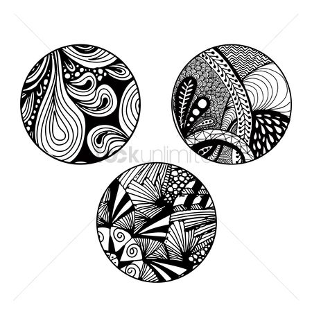 摘要 : Set of zentangle pattern designs