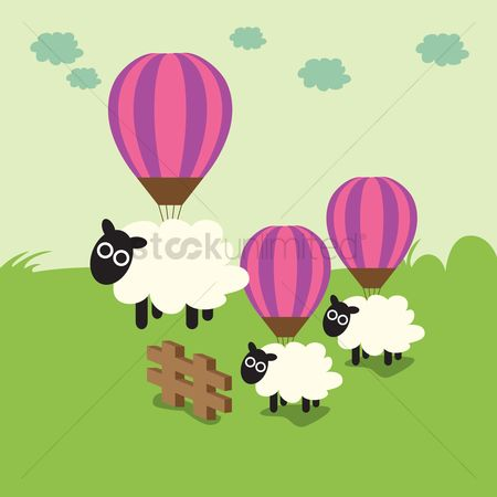 漫画 : Sheep hanging on balloons