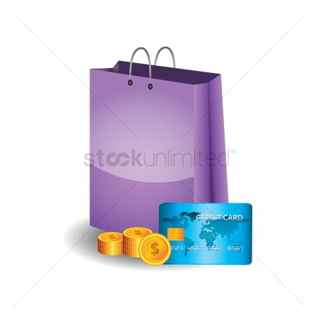 业务金融 : Shopping bag with coins and credit card