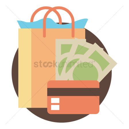 卡 : Shopping bag with money and credit card