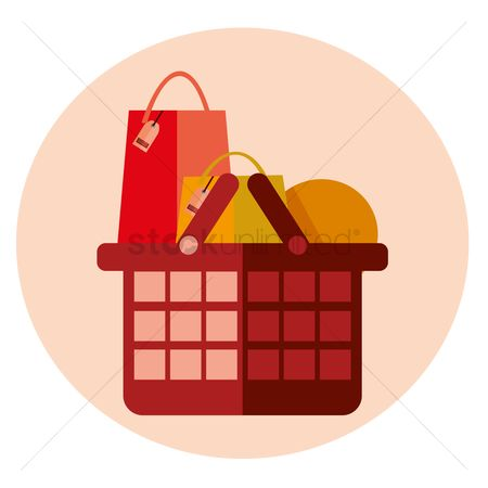 标签 : Shopping basket full of items