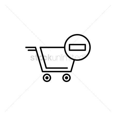 处理 : Shopping cart with remove sign