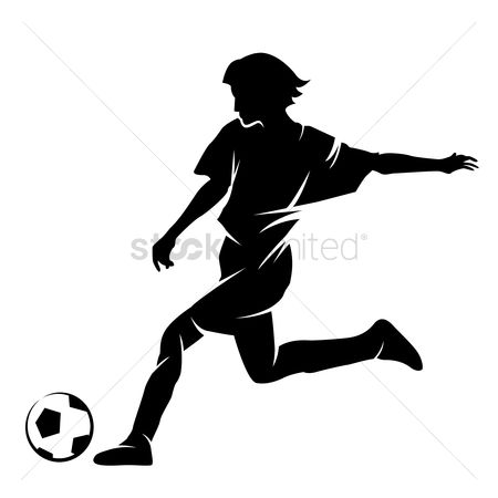 运动 : Silhouette of a footballer with a ball