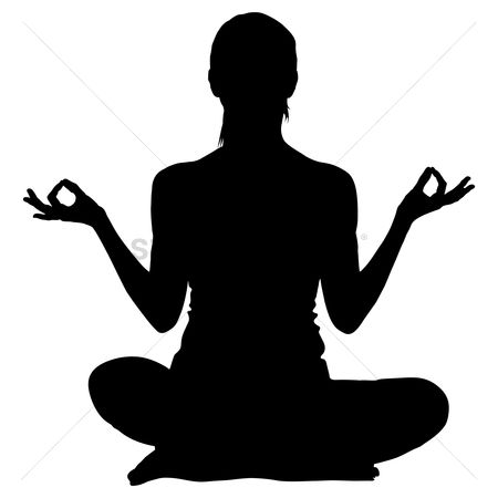 向量 : Silhouette of a woman practicing yoga