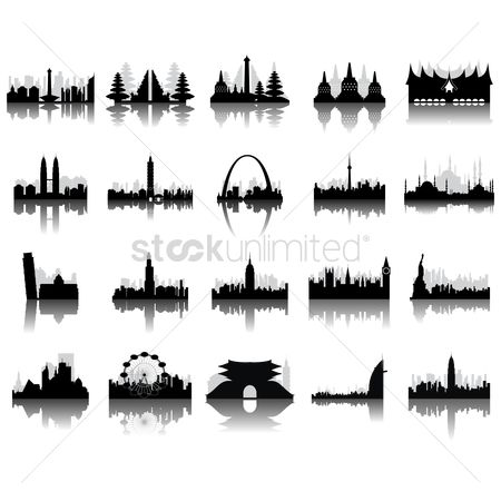 房屋地标 : Silhouettes of famous monuments