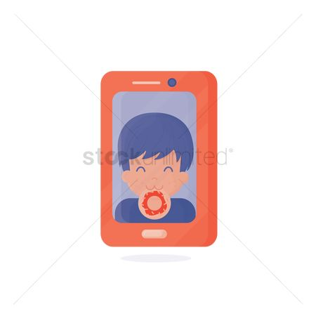 技术 : Smartphone displaying a photo of a person with a donut