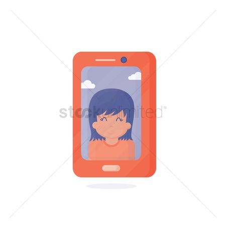 技术 : Smartphone displaying a photo of a person