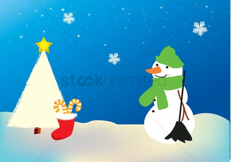 庆典 : Snowman standing next to a christmas tree