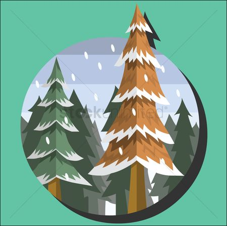 漫画 : Snowy trees on winter mountains
