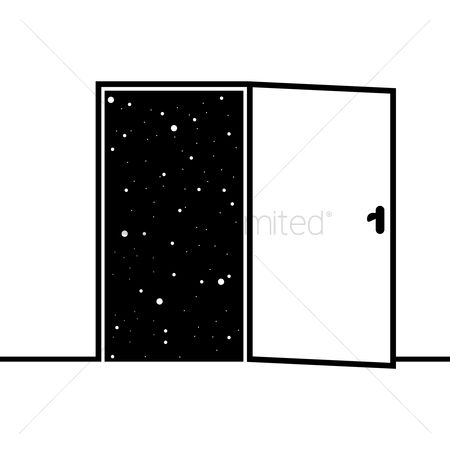 处理 : Starry sky view from open door