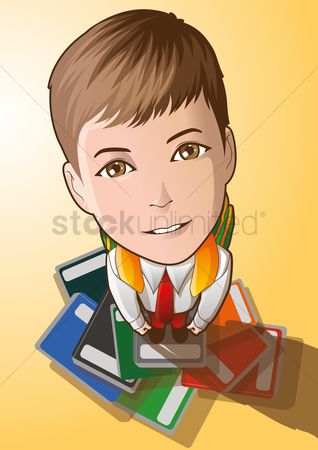 学校 : Student looking up while standing on a pile of books