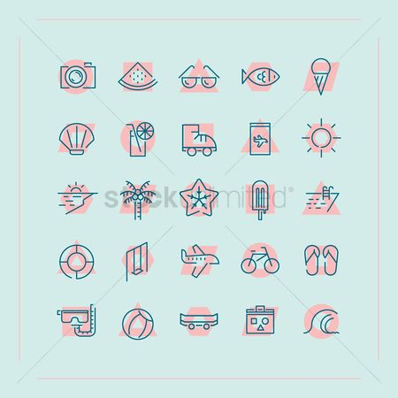 波 : Summer icon set