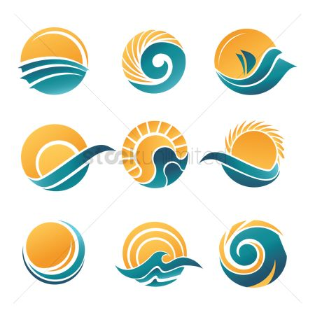 图标 : Sun and sea icons