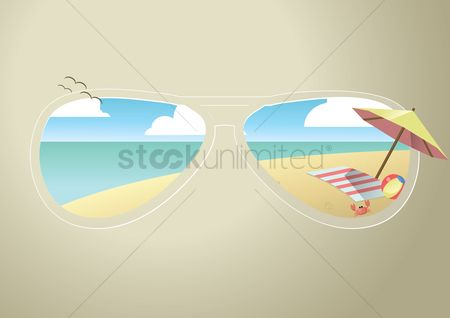 动物 : Sunglasses view of a beach