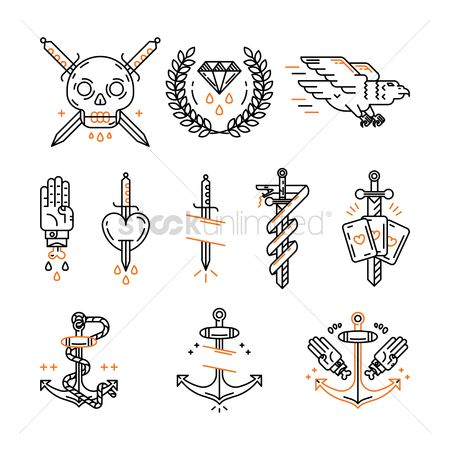 图标 : Tattoo icon set