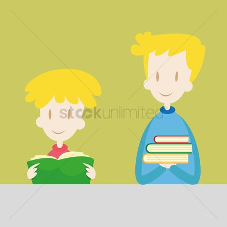 学校 : Teacher and student holding books
