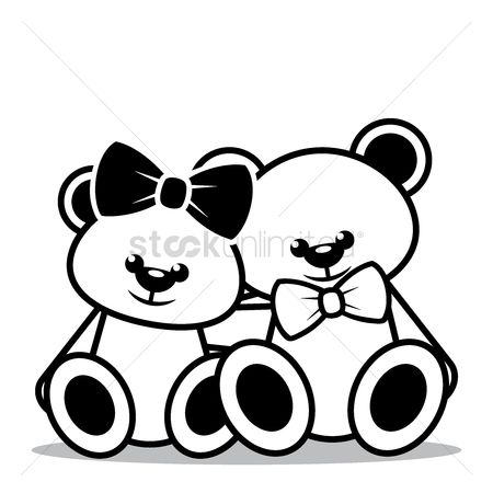 插图剪贴画 : Teddy bears sitting together