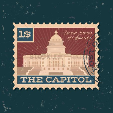 房屋地标 : The us capitol building postal stamp