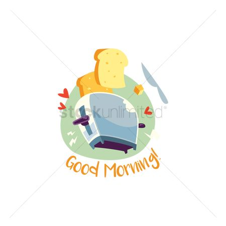 插图剪贴画 : Toaster with good morning text