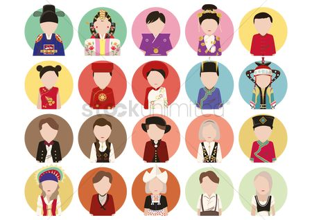 搜藏 : Traditional costume icons