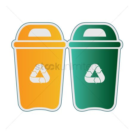 环境 : Trash bin with recycling symbol